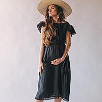 Платье женское с крылышками и открытой спиной, цвет черный 42