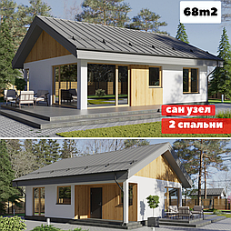 Каркасно модульный дом 68m2 из ЛСТК 10х8m