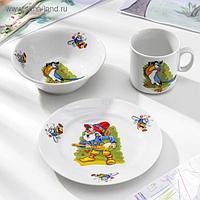Набор детский «Лесовичок», 3 предмета: салатник 360 мл, тарелка 17 см, кружка 200 мл