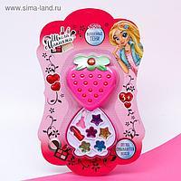 Набор косметики для девочки тени с блестками 5 гр, помада 0,8 гр, аппликатор