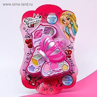 Набор косметики для девочки: тени, блеск для губ, помада, аппликаторы