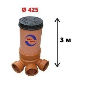 Колодец канализационный пластиковый Ду-425 мм (3м)