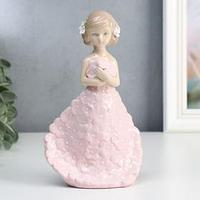 Сувенир керамика 'Девочка в платье с розовыми цветами' 19х6,3х11 см