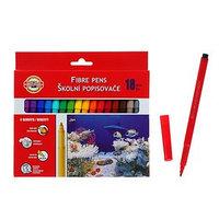 Фломастеры 18 цветов Koh-I-Noor 7710/18 Рыбки, смываемые, трёхгранные, картонная упаковка, европодвес