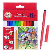 Фломастеры 12 цветов Koh-I-Noor 1002/12 смываемые, трёхгранные, картонная упаковка, европодвес