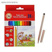 Фломастеры 24 цвета Koh-I-Noor 1002/24 смываемые трёхгранные, картонная упаковка, европодвес