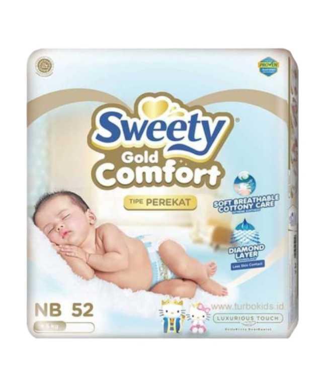 Подгузники SWEETY Comfort Gold NB (0-5кг) 52 штуки (для новорожденных)