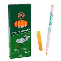Маркер для ткани 3.0 мм Koh-I-Noor 3203/71, длина письма 500 м, флуоресцентный оранжевый (комплект из 12 шт.)