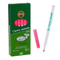 Маркер для ткани 3.0 мм Koh-I-Noor 3203/72, длина письма 500 м, флуоресцентный розовый (комплект из 12 шт.)