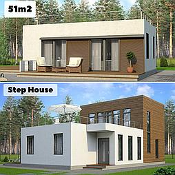 Каркасный дом 51m2 из ЛСТК 7х8m