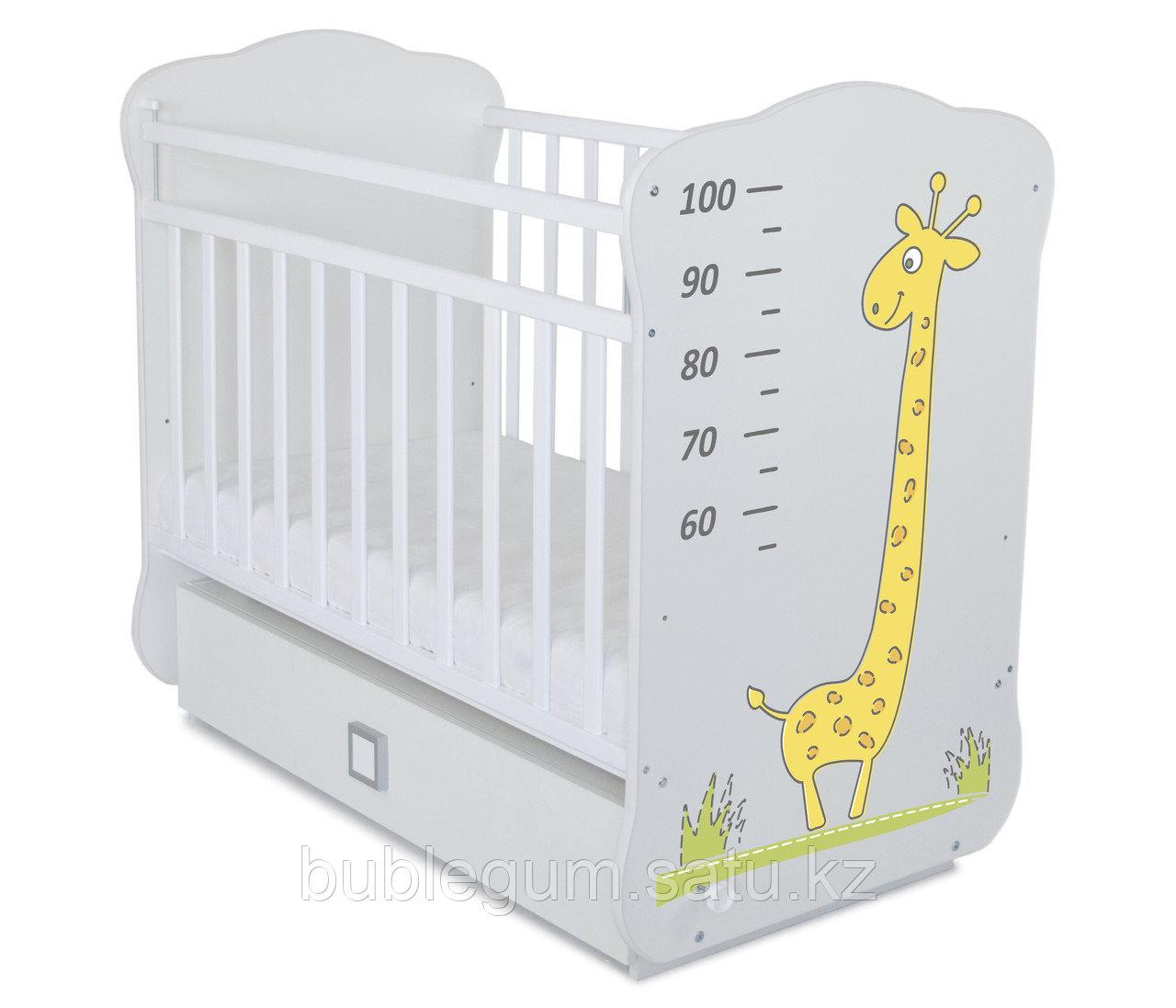 Кроватка детская СКВ-4 Жираф с ростомером маятник АКЦИЯ фотопечать Жирафа
