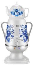 Электрочайник-самовар Добрыня 4.0 л DO-421 (белый/гжель2) + керамический заварочный чайник 1.0л