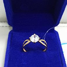 Кольцо с фианитом / красное золото - 19 размер