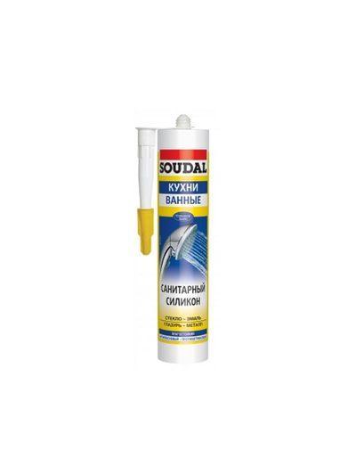 Соудал санитарный силикон бесцветный 15*280 мл с фунгицидом
