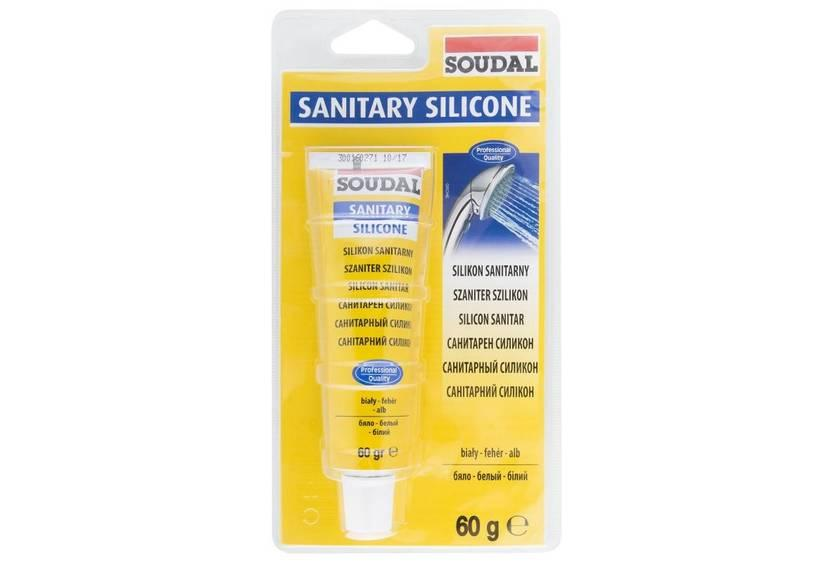 Соудал универсальный санитарный силикон белый 12*60 гр с фунгицидом