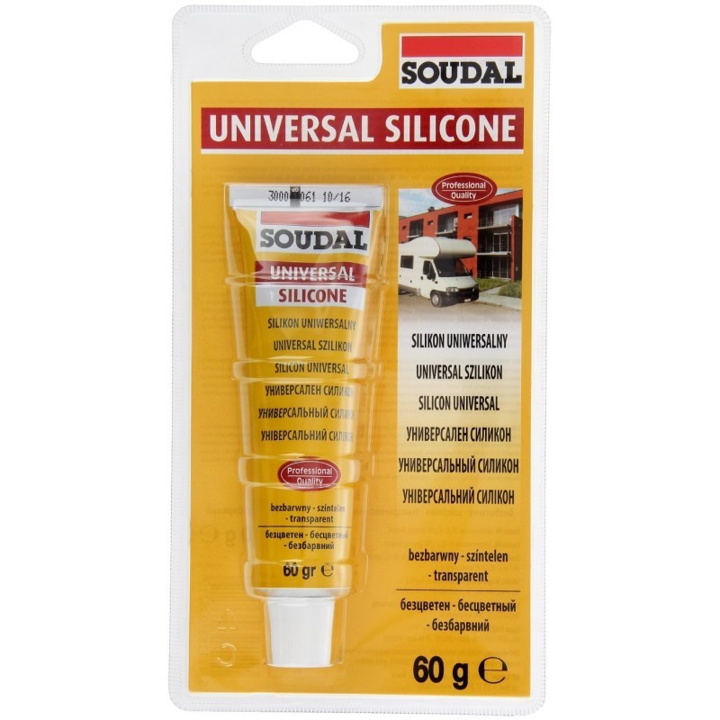Соудал универсальный силикон кислотный бесцветный 12*60 гр