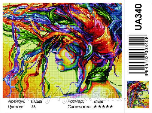 """Алмазная мозаика на деревянном подрамнике """"Девушка с цветными волосами"""" 40х50 см, фото 2"""
