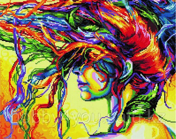 """Алмазная мозаика на деревянном подрамнике """"Девушка с цветными волосами"""" 40х50 см"""