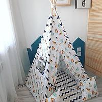 Детская палатка вигвам 17 белый/зигзак