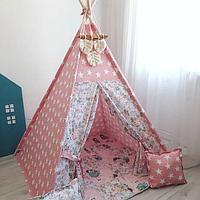 Детская палатка вигвам 22 розовые/звезды