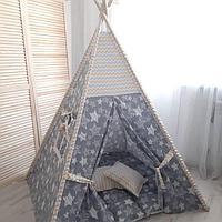 Детская палатка вигвам 27 серый/звезды