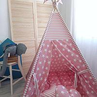 Детская палатка вигвам 27 розовый/звезды, фото 1