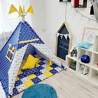 Детская палатка вигвам 27 синий/желтый
