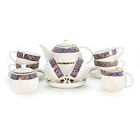 Позолоченный фарфоровый чайный сервиз 6 персон Тамерлан (Акку, Казахстан)