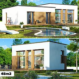 Каркасный дом 48m2 из ЛСТК 6х8m