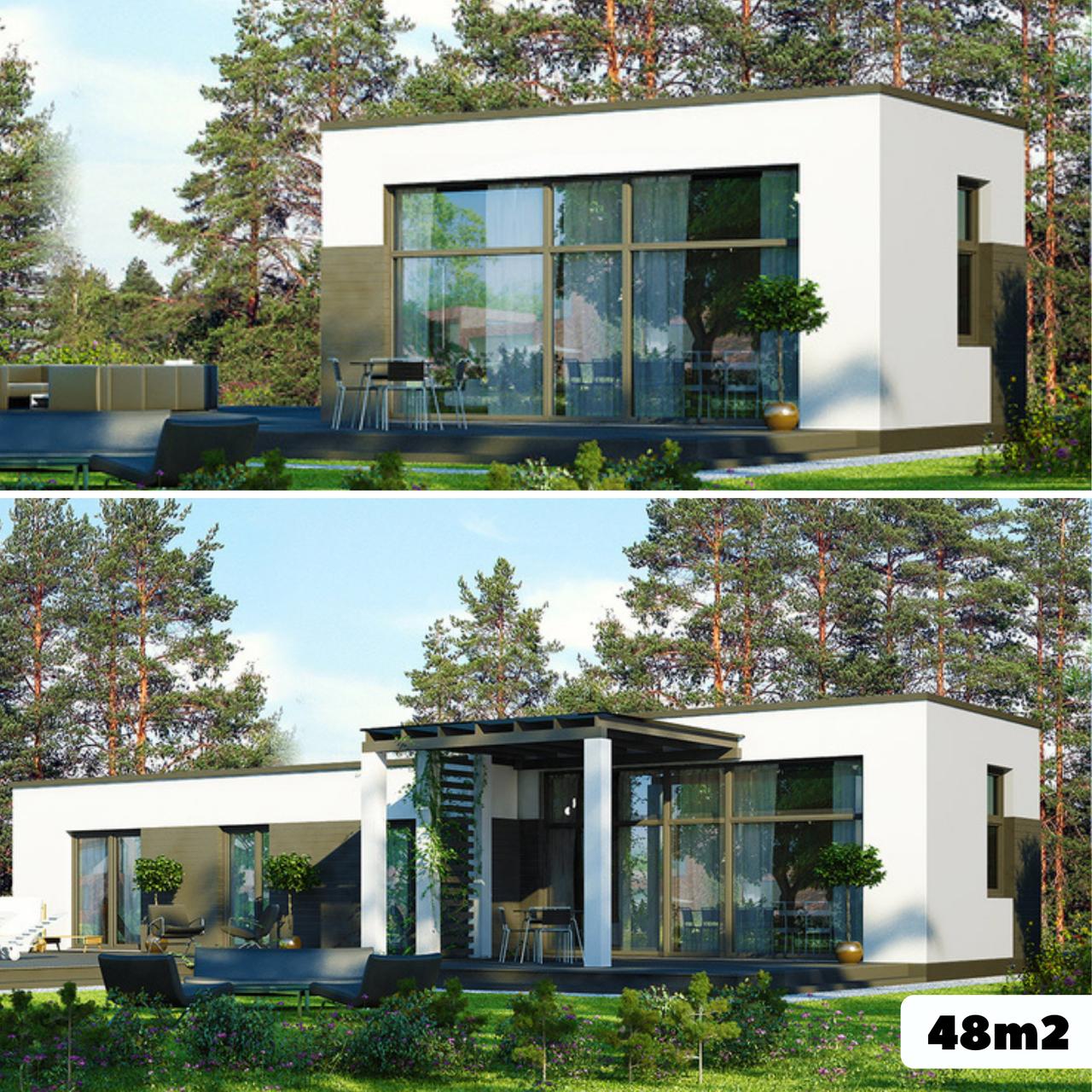 Каркасный дом 48m2 из ЛСТК 8х6m