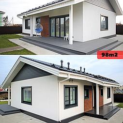Каркасно модульный дом 98m2 из ЛСТК 10х8m