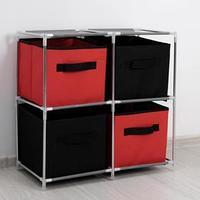 Стойка для хранения одежды Доляна, 4 короба, 60x29x60 см, цвет красно-чёрный