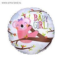 "Шар фольгированный 18"" BABY GIRL «Коала», круг"