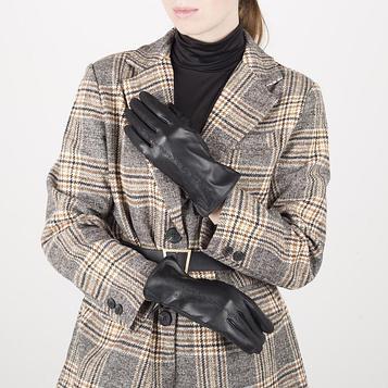 Перчатки жен р.7,5 без утеплит, узор волна, черный