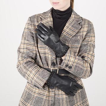 Перчатки жен р.7,5 без утеплит, манжет волна клёпки, черный