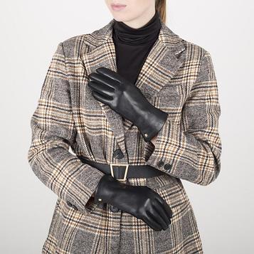 Перчатки жен, р 7 комбинированные кожа/шерсть, без утепл, черный