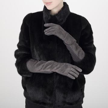 Перчатки жен р S-M, замша/шерсть, длинные, без утепл, серый