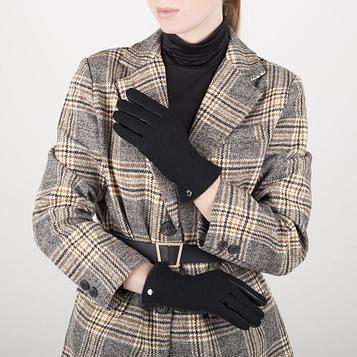 Перчатки жен, р 6,5, комбнированные кожа/шерсть, без утепл, манжет затяжка, черный