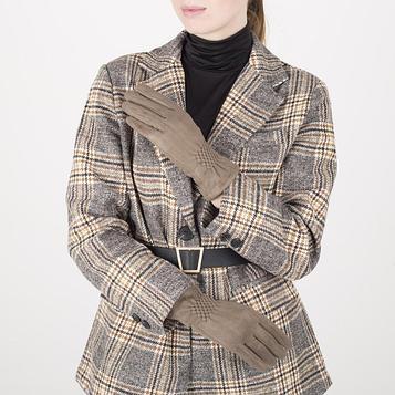 Перчатки жен 23,5 см, иск замша, без утепл, манжет стяжка, безразмерные, бежевый