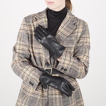 Перчатки жен р.7 без утеплит, узор волна, черный