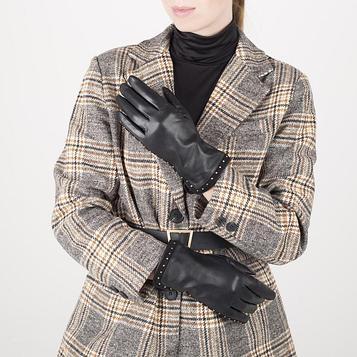 Перчатки жен р.7 без утеплит, манжет волна клёпки, черный