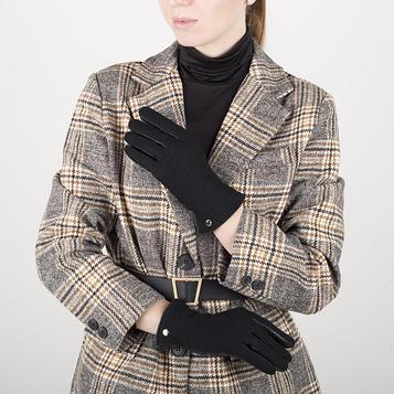 Перчатки жен, р 7, комбнированные кожа/шерсть, без утепл, манжет затяжка, черный