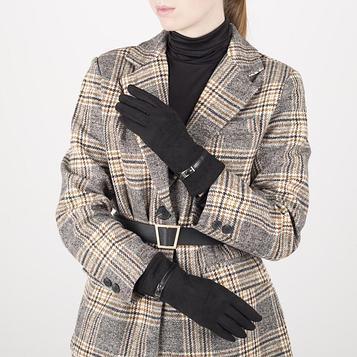 Перчатки жен 23,5 см, иск замша, без утепл, безразмерные, черный