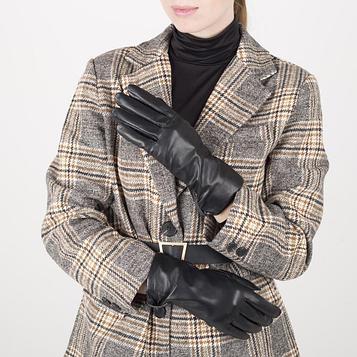 Перчатки жен р.7 без утеплит, манжет кнопка, черный
