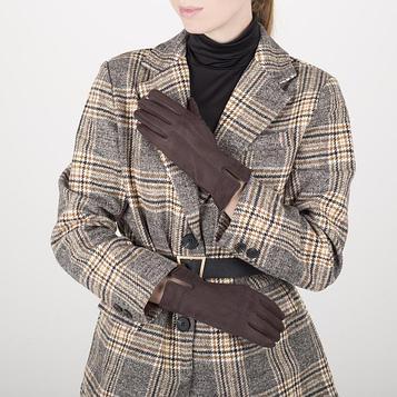 Перчатки жен, 23,5 см, безразмер, без утеплителя, коричневый
