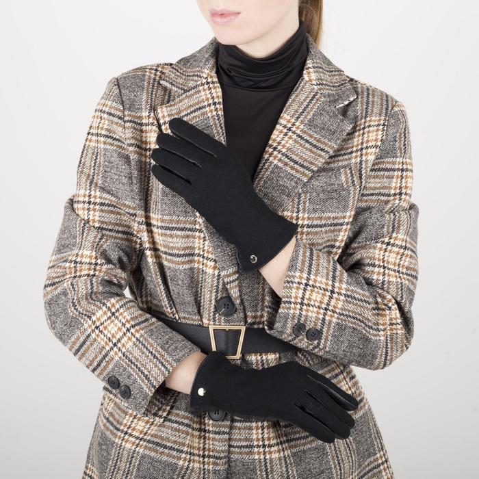 Перчатки жен, р 8, комбнированные кожа/шерсть, без утепл, манжет затяжка, черный