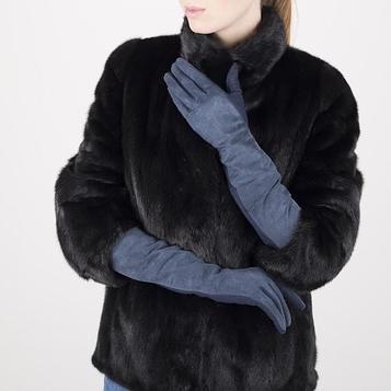 Перчатки жен р 6-7, замша/шерсть, длинные, без утепл, синий