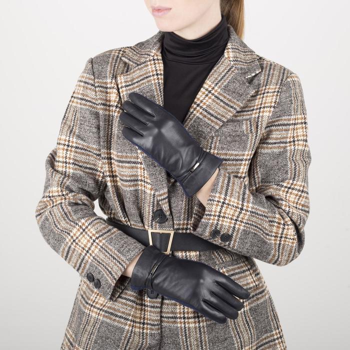 Перчатки жен р 6,5 комбинир кожа/шерсть, без утепл, манжет браслет, черный