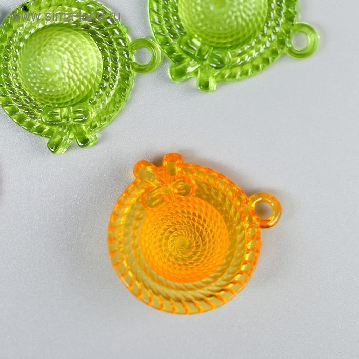 """Декор для творчества пластик """"Соломенная шляпка"""" прозрачный набор 12 шт 2,7х2,4 см - фото 3"""