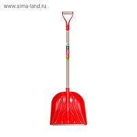 Лопата пластиковая, ковш 405 × 420 мм, с металлической планкой, деревянный черенок, с ручкой